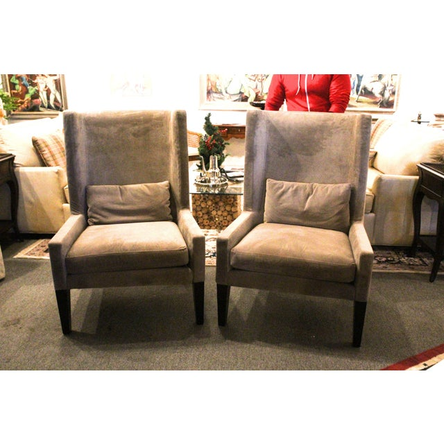 Vintage Mid Century Plush Contemporary Wing Chairs- A Pair For Sale - Image 9 of 9