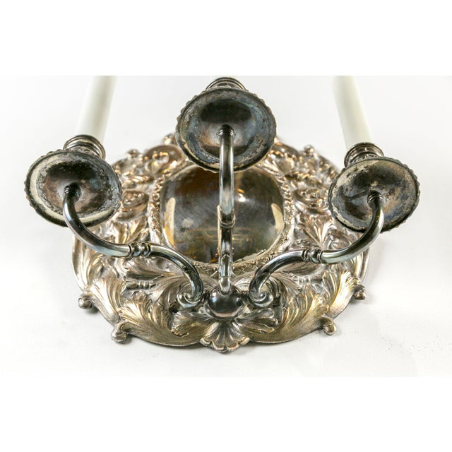 Spanish Silver Shield Triple Candelabra Sconces, Pair (3 Pairs Available) For Sale - Image 9 of 13