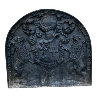 Antique French Cast Iron Fireback Fireplace Hearth Heraldic Knights Lions 18th C For Sale