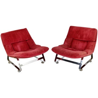 Pair of Mid-Century Modern Chrome Lounge Chairs Baughman Brueton Style For Sale