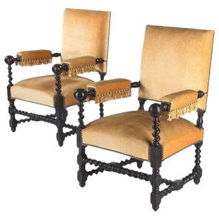 19th Century Louis XIII Style Ebonized Wood Armchairs - a Pair For Sale