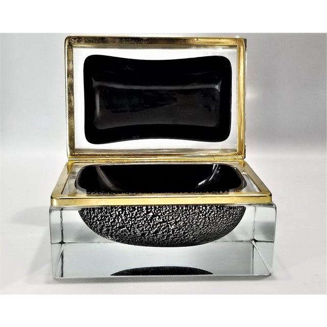 Black Murano Glass Box by Alessandro Mandruzzato - Silver and Black Heavy Glass - Italy Italian Mid Century Modern Palm Beach Boho Chic For Sale - Image 8 of 12