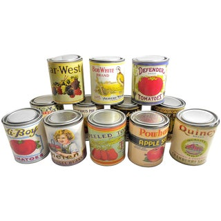 Vintage Retro Food Tin Canisters - Set of 12