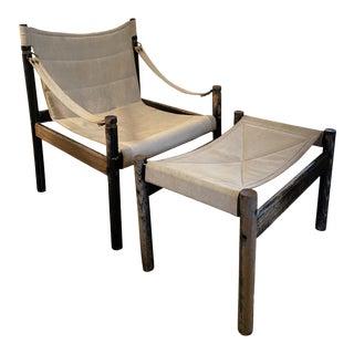 Vintage Mid-Century Safari Lounge Chair & Ottoman For Sale