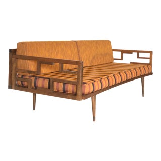 Mid Century Modern Wood Framed Sofa Daybed For Sale
