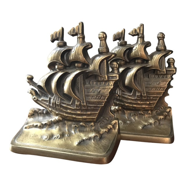 Vintage Brass Schooner Ship Nautical Bookends - a Pair For Sale
