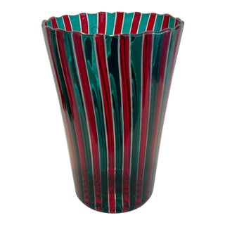2001 Vintage Gio Ponti for Venini Red & Green Vase For Sale