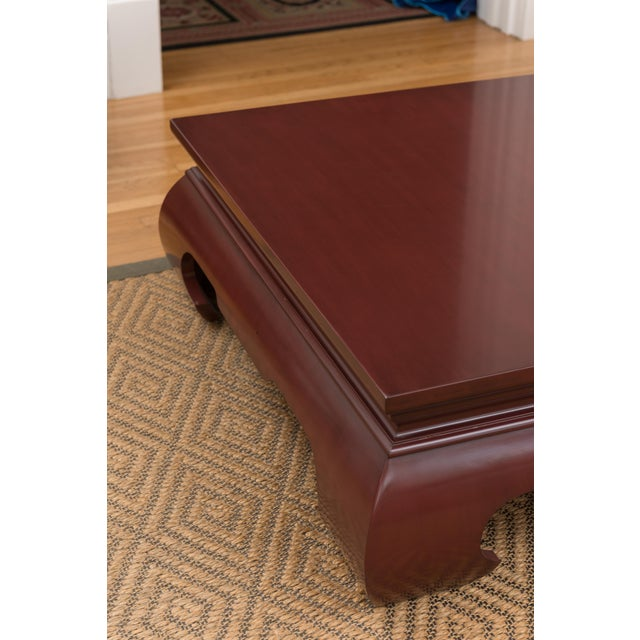 Lacquer Claret-Red Coffee Table by Baker - Image 2 of 3