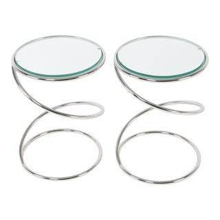 1970's VINTAGE PACE COLLECTION CHROME SPRING SIDE TABLES- A PAIR For Sale