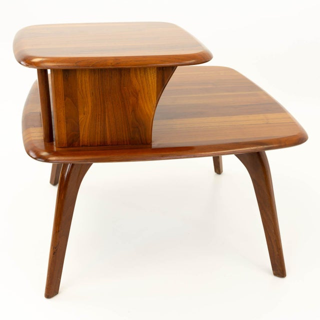 Mid CenturyModern Walnut Corner Side Table For Sale In Chicago - Image 6 of 10