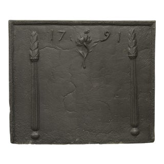 Antique Fireback Beautifully Decorated and Dated 1791 For Sale