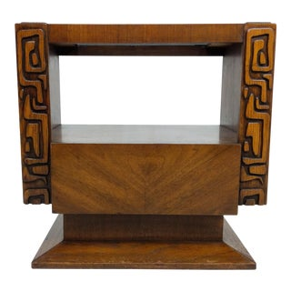 Tiki Brutalist Mid Century Nightstand or End Table by United, Sculptural For Sale
