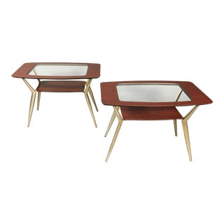 Pair of Atomic Metal and Glass Side Tables, Usa, 1970 For Sale
