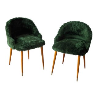 Frode Holm Inspired Mid-Century Danish Vanity Chairs in Elm and Green Faux Fur - a Pair For Sale