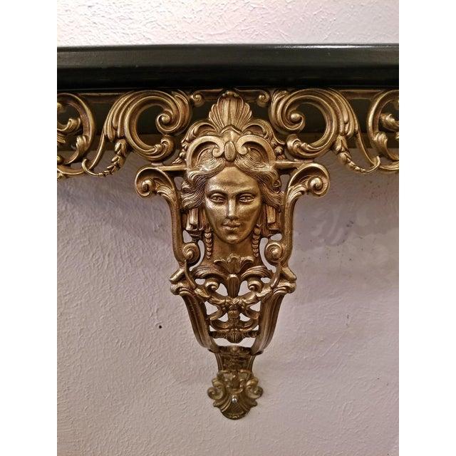 Art Nouveau Early 20c French Art Nouveau Style Brass Wall Bracket Shelf For Sale - Image 3 of 12