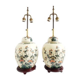Vintage Asian Ginger Jar Table Lamps- a Pair For Sale