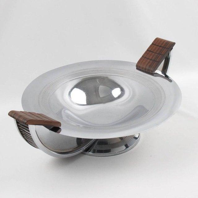French Massabova Art Deco Chrome Macassar Centerpiece Bowl - Image 5 of 11