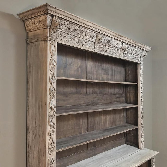 19th Century Grand Hand Carved Stripped Oak English Bookcase For Sale - Image 11 of 12