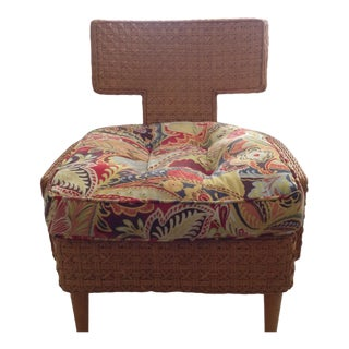 "Vintage Mid Century ""Mod"" Low Wicker Accent Chair For Sale"