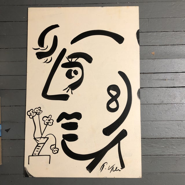 Original Vintage Peter Robert Keil Abstract Face Painting For Sale In Philadelphia - Image 6 of 6