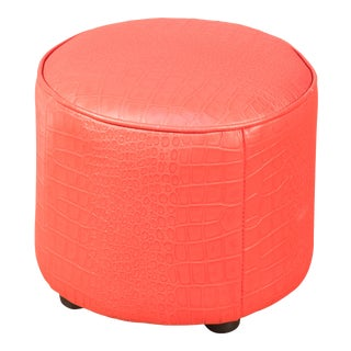 Sarreid Round Footrest, Embossed Croc Red Leather For Sale