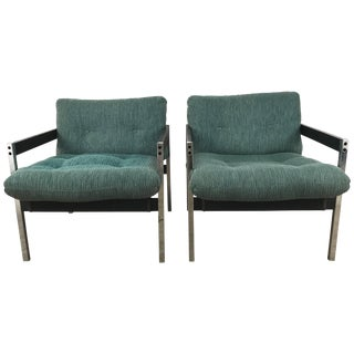 Modernist Chrome and Wood Sling Lounge Chairs After Charles Pollock - a Pair For Sale