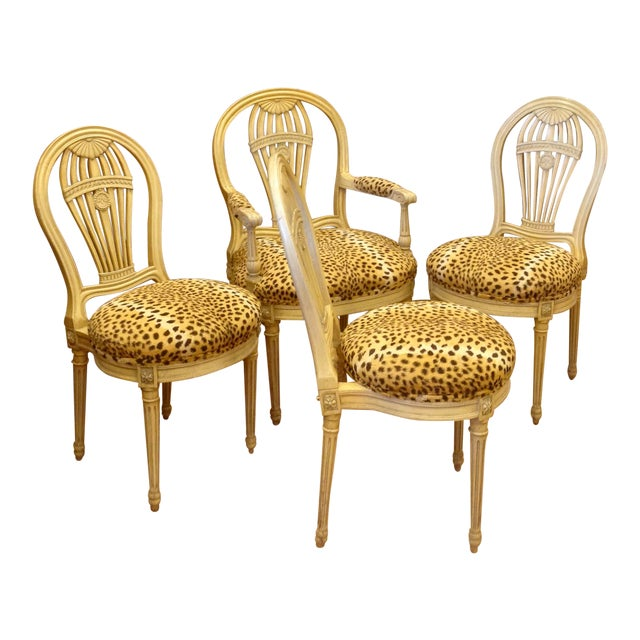Set of 4 Jansen Style Balloon Back Chairs For Sale