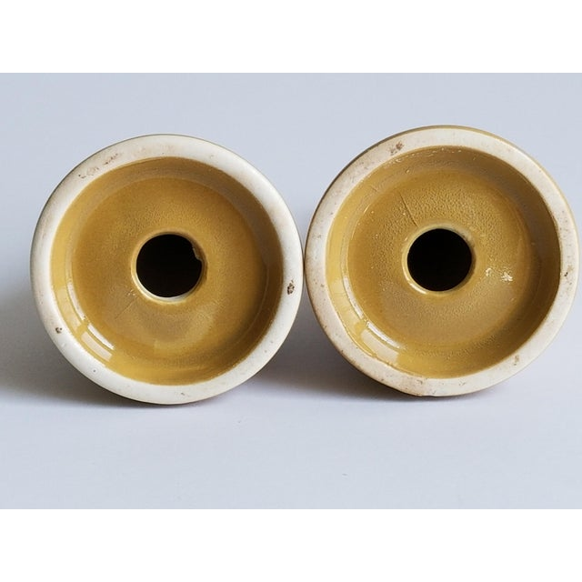 Tan Vintage Mid Century Modern Gold Tone Ceramic Salt Pepper Shakers - a Pair For Sale - Image 8 of 10