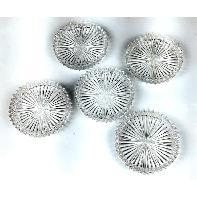 Mid Century Cut Glass Drink Coasters - Set of 5 For Sale - Image 4 of 8