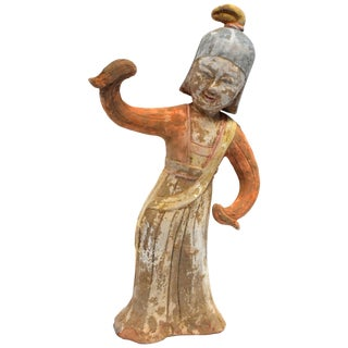 Pottery Figure Dancer in Military Helmet, Chinese Han Style For Sale