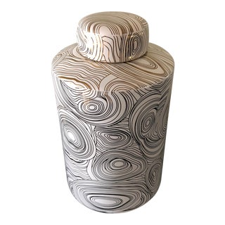 Contemporary Lidded White Porcelain Jar