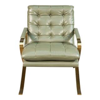 Sarreid Ltd. O'Brien Green Button Tufted Leather Chair For Sale