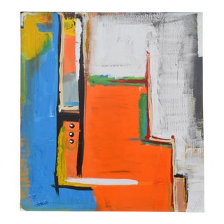 Yamil O. Cardenas Orange Abstract Painting in Acrylic on Canvas For Sale