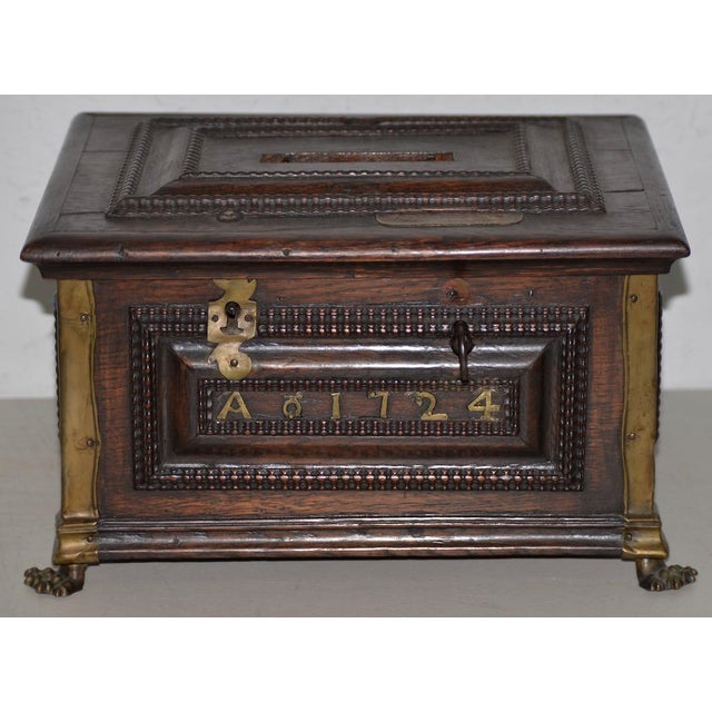 Metal Early 18th Century Carved Walnut & Brass Alms Box C. 1724 For Sale - Image 7 of 13