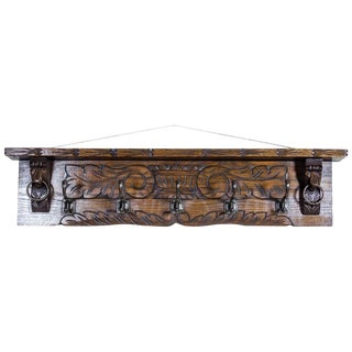 19th Century Oak Coat Rack For Sale