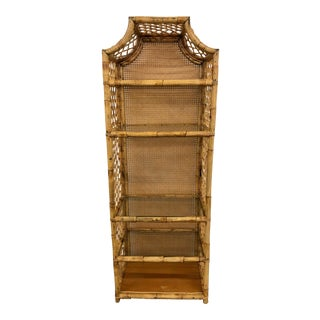 Vintage Bamboo Rattan Cane Back Pagoda Etagere For Sale