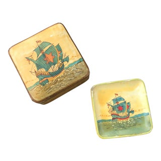 Vintage Box Ship Nautical Coasters - Set of 8 For Sale