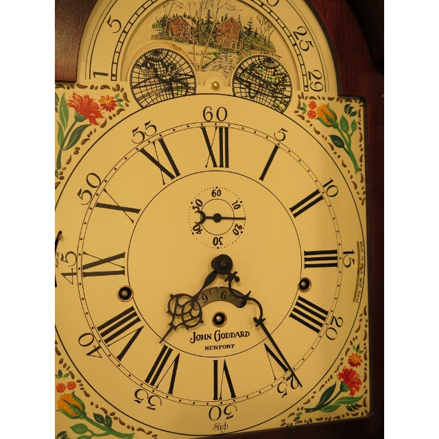 1990s Sligh John Goddard Cherry Grandfather Clock For Sale - Image 5 of 13
