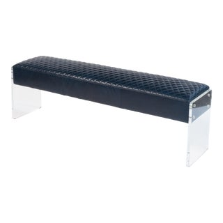 Vinton Chateau Blue Leather Acrylic Bench