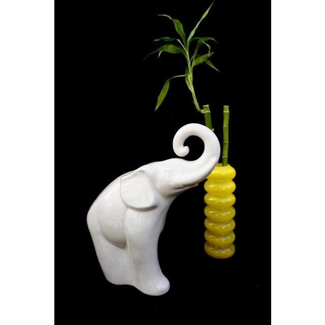 "White Large White Porcelain Elephant Statue || 17"" Modern Boho Chic Figural Ceramic Elephant Indoor/Outdoor Art For Sale - Image 8 of 12"