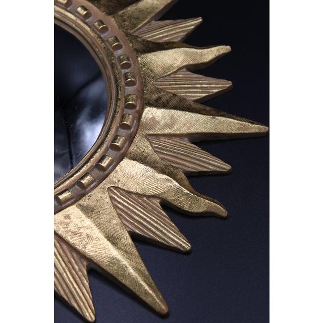 Gold Vintage Golden Gilt Convex Sunburst Mirror For Sale - Image 8 of 11