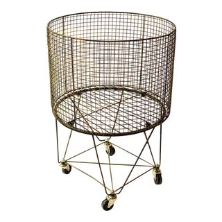 Contemporary Round Wire Blanket Basket on Casters