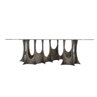 Brutalist Paul Evans Stalagmite Bronze and Resin Base Dining Table For Sale
