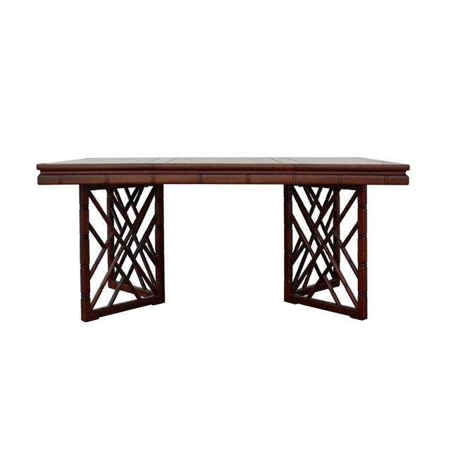 Asian Chinese Oriental Brown Rectangular Writing Desk Dining Table For Sale - Image 3 of 10