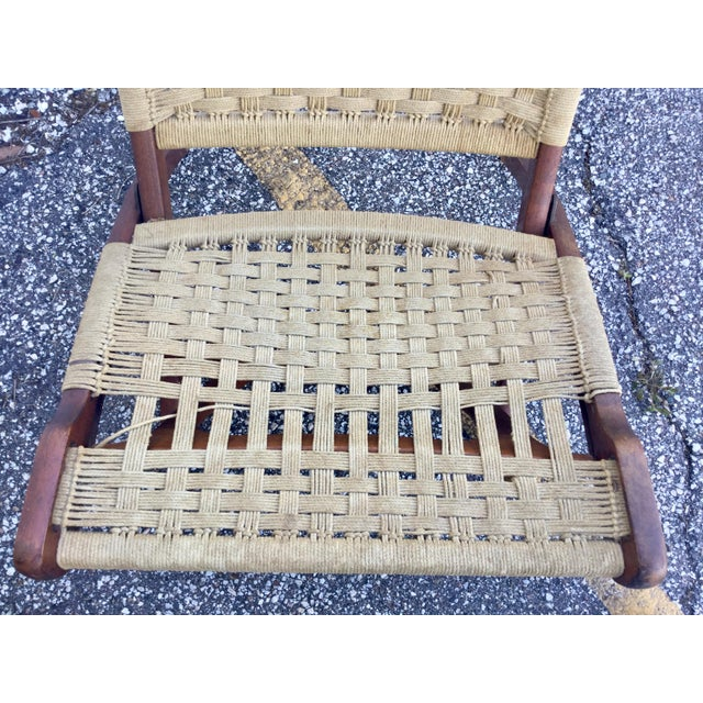 Wood Hans Wegner Style Folding Rope Chairs - a Pair For Sale - Image 7 of 9