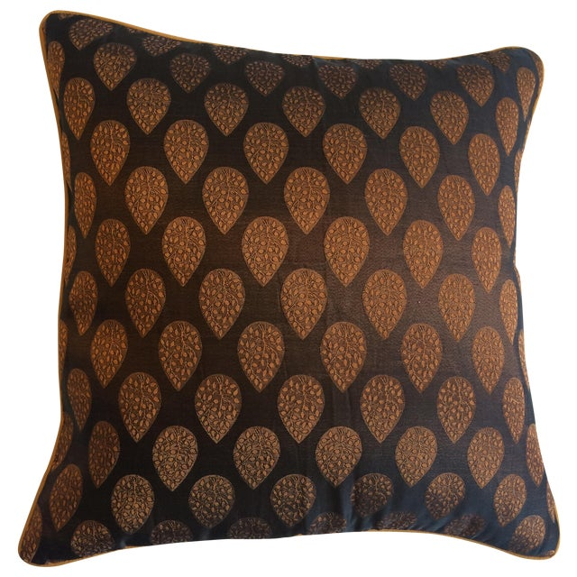 Brown & Gold Brocade Pillow Cover - Image 1 of 4