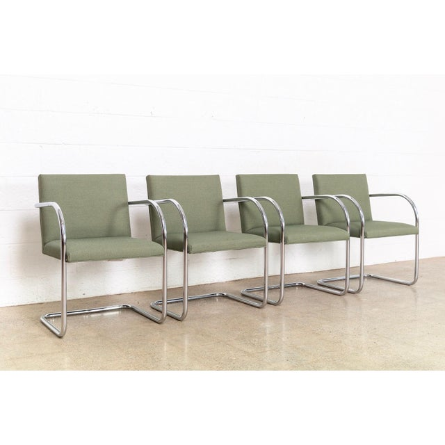 Mid-Century Modern Mies Van Der Rohe Green Brno Chairs For Sale - Image 3 of 11