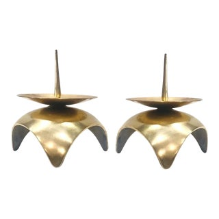 1960s Mid-Century Modern Brutalist Japanese Candleholders in Solid Brass - A Pair For Sale