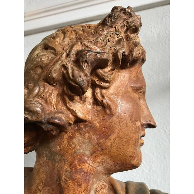 Neoclassical Antique Neoclassical Bust of a Greek God For Sale - Image 3 of 7