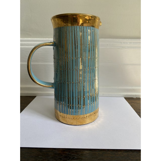 Mid 20th Century Mid Century Modern Italian Turquoise and Gold Pitcher/Vase For Sale In Los Angeles - Image 6 of 6